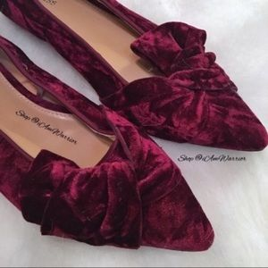 New Express burgundy crushed velvet flats